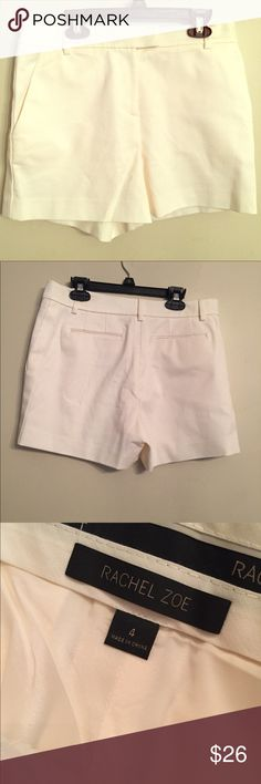 """Rachel Zoe ivory dressy high-rise shorts NWOT New, no flaws.  Not worn. Fully lined. Size 4. Inseam 4"""". Rise 9 1/2"""". Waist across front 14"""".  Cotton/polyester/spandex. Top sold separately. Rachel Zoe Shorts"""