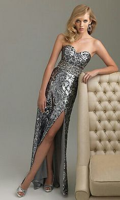 Strapless Long Sequin Formal Dress by Night Moves 6454 Strapless Long Sequin  Dresses ec1d91ddb4d3