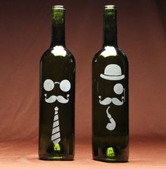 Steampunk wine bottles are etched w/Armour glass etching cream & stencils. Fun for parties! avail @ www.etchworld.com (wine bottle crafts)