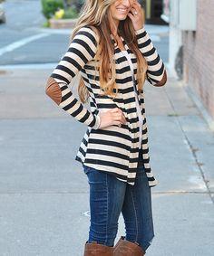 So Perla Black & Ivory Stripe Open Cardigan #clothing #fashion #cardigan