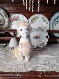 Vintage Ceramic Japan Kitschy Collectible Poodle Dog Figurine, Anthropomorphic Dog Figurines, Mid Century Retro Poodles Dog Lovers Gift Dog Lover Gifts, Gift For Lover, Dog Lovers, Lovers Gift, Etsy Vintage, Vintage Shops, Vintage Items, Vintage Easter, Blue Accents