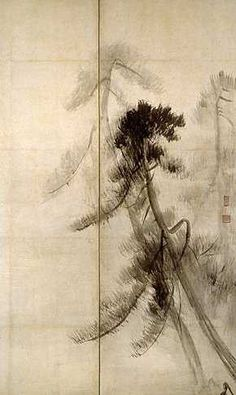 """Pine Trees"" by Hasegawa Tōhaku (Japanese, Japanese National Treasure in the paintings category. Right of a pair of six-fold screens; ink on paper. Watercolor Artists, Watercolor And Ink, Japanese Ink Painting, Japanese Screen, Japanese Landscape, Tinta China, China Painting, Japanese Prints, Japan Art"