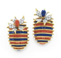 A Pair of Diamond, Coral and Lapis Lazuli Ear Clips, By Jean Schlumberger Tiffany & Co.