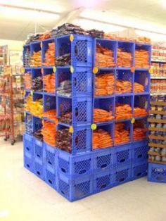milk crate wall shelf - Google Search Milk Crate Bench, Milk Crate Shelves, Milk Crate Furniture, Milk Crate Storage, Crate Table, Diy Furniture, Crate Desk, Dining Table, Plastic Milk Crates