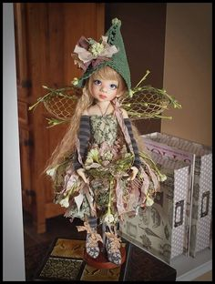 OOAK Handmade Fairy Outfit for Kaye Wiggs MSD BJD by Kim Arnold of The Trinket Box...available at IDS!