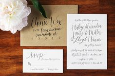 Informal #Calligraphy #Wedding Invitations via Oh So Beautiful Paper: http://ohsobeautifulpaper.com/2014/07/informal-calligraphy-wedding-invitations/ | Design + Photo: Goodheart Design | Letterpress Printing: Czar Press