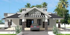 This one storey with roof deck has 3 bedrooms and having a total floor area of 148 square meters. Distinctive with its design, the porch is a double purpose area where it can be a wide porch itself and a parking area or garage for one vehicle. Single Floor House Design, Best Modern House Design, Bungalow House Design, Minimalist House Design, House Outside Design, House Front Design, Small House Design, One Storey House, House Design Pictures