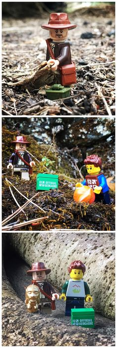 Indiana Jones and the Geocache of Doom!  Who knew Lego Indy was also an avid geocacher?  (pics by xlii on instagram stitched together by I.B. Geocaching and pinned to Geocaching Images - pinterest.com/islandbuttons/geocaching-images/)  #IBGCp