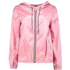 Boohoo Jasmine Hooded Rain Mac | Boohoo (160.835 IDR) ❤ liked on Polyvore featuring outerwear, coats, leather-sleeve coats and pink coat