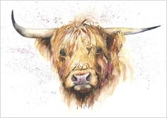 Helen Rose Limited Print of my HIGHLAND COW by HelenAprilArt