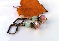 New w/Swarovski Vintage Rose & Chrysolite Opal Crystal Dangle Earrings  #HisJewelsCreationsDesign #DropDangle