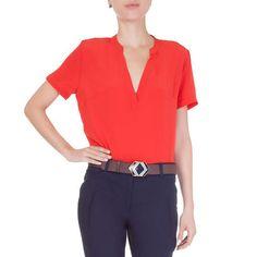 Blusa seda basic color Animale - vermelho