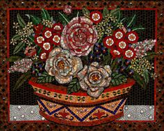 "The Terra Cotta Pot - 24"" x 30"" Glass Mosaic Fine Art Floral of a flower arrangement in a terra cotta pot, framed in warm wood $1,600 plus sh"