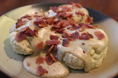 One day DH wanted biscuits and gravy, but I didnt have sausage, only bacon.  So, I found a recipe online and went for it.  Thus, bacon gravy was born!