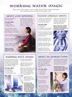 Working with water, water spells, water element, elemental magic, magic Wicca Witchcraft, Magick Spells, Hoodoo Spells, Tarot, Water Witch, Sea Witch, Witch Cat, Elemental Magic, Eclectic Witch