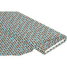 """Tissu coton """"triangle"""", turquoise/marron, de la série """"Mona"""", imprimé, en tissu coton doux et très fin, dim. motif : 12 x 10 mm.Composition : 100 % cotonPoids : env. 130 g/m²Largeur : 150 cm"""