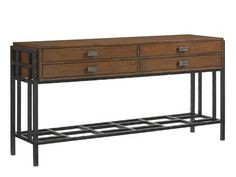 Shop for Tommy Bahama Home Saipan Sideboard, 556-869, and other Living Room Cabinets at Oskar Huber Furniture in Southampton, PA and Ship Bottom, NJ. Wooden drawer box sits on hammered metal base with metal fretwork stretcher.