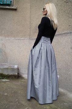 Gingham Lovely Black and White Long Maxi Skirt/High by FloAtelier