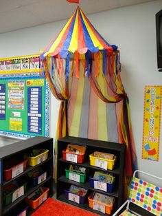 classroom library- I love the reading corner! Circus Theme Classroom, New Classroom, Classroom Design, Classroom Displays, Classroom Decor, Preschool Rooms, Kindergarten Classroom, School Decorations, School Themes