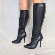 Vintage tall black leather Miss Sixty stilletoe boots. Super high heel. Knee-high length. Leather is soft. Zipper on the inner side. Leather lining. ★ Made by : Miss Sixty. ★ Size : EUR 39 / UK 6 / US 8,5. ★ Material : leather, man made material. ★ Color : black. ★ Condition : great vintage condition. Some general wear signs (bending lines, minor scratches). Left heel has some scratches. No holes Pre-owned. Ready to wear. MEASUREMENTS ★ insole : 26 cm / 10,24 in ★ width : 8 cm / 3,15 in ★ heel : Tall Brown Boots, Long Boots, Super High Heels, Black High Heels, High Heel Boots, Heeled Boots, Stiletto Boots, Leather Clogs, Black Leather