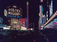 35mm Slide Las Vegas Street Scene Golden Nugget Night Neon Lights 1966