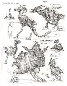 Biped Evosaurs by artist Mike Corriero www.MikeCorriero.com - https://www.facebook.com/Creature.Artist
