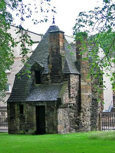 Queen Mary's Bath House, Edinburgh, Scotland. ~This strange little house is located on the western boundary of the grounds of Holyrood Palace in Edinburgh, the principal residence of the Kings and Queens of Scots since the 1500's.