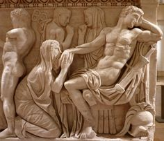 Sarcophagus depicting account from Iliad -- King Priam begging Achilles for the body of his slain son, Hector.  As the Trojans and the Greeks were at war, King Priam's petition made in person was a very bold move and overcame Achilles' anger.