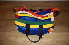 Handmade, Multi, re-cycled Martial Art Belts, Blue Mesh, Kit Bag - 614