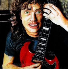 Young Angus by Shamaanita on DeviantArt Rock And Roll Bands, Rock N Roll, Thunder From Down Under, Angus Young, Cool Bands, Fan Art, Ac Dc, Pictures, Madness