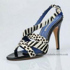 Manolo Blahnik Zebra-stripe Strappy Sandal