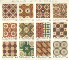 Linoleum designs offered in c. 1900 catalog: Telfer's Good Carpets and Rugs by Telfer Carpet Company. Victorian Interiors, Vintage Interiors, Victorian Homes, Inspiral Carpets, Rugs On Carpet, Craftsman Interior, Craftsman Style, Challenges