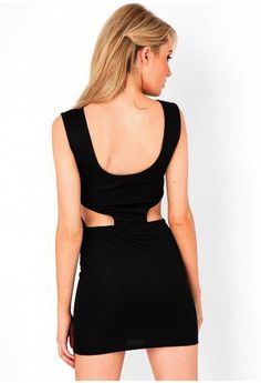 Black Cut out Backless Feature dress