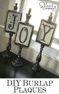 "Whitney's Christmas JOY Plaques - using a piece of wood, wooden candle stick (from art supply store) and finials (from construction store) you can make these easy plaques with various decorations for the holidays, i.e. ""JOY"" or ""HOHO"" or ""BOO"" or ""I <3 U"""