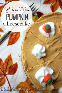Gluten Free Pumpkin Cheesecake, a delicious fall dessert