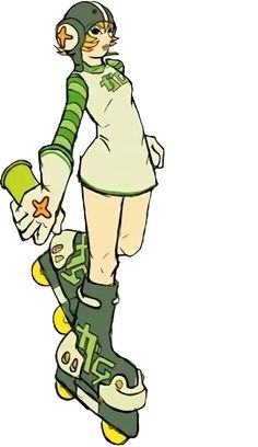 Gum (ガム, Gamu) is a playable character in the Jet Set Radio series. She, alongside Corn, is an original member of the GG's in both Jet Set Radio, and Jet Set Radio Future. Gum wears a short cream-colored dress with thin green piping at the hem over a long sleeved top with green striped two-tone sleeves. Her name is displayed in two-tone katakana letters horizontally across her chest. She also wears cream-colored gloves with green piping along the ends. She wears her trademark dark green.....