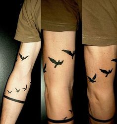 Bird Tattoos Around the Arm for Men