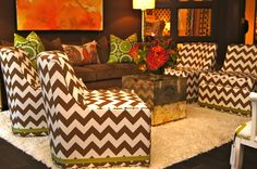 Laine Chevron trends are not going away any time soon. The chevron pattern is showing up everywhere at High Point Market Fabric, chairs, ottomans Decor, Furniture, High Point Furniture Market, Furniture Market, Living Room Color, Cr Laine Furniture, Kravet, Chevron, Interior Design Services
