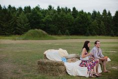 hay bales as lounge  Read more - http://www.stylemepretty.com/2011/08/11/glen-haven-wedding-by-bryan-and-mae-photography/