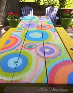 pretty painted picnic tables - Google Search