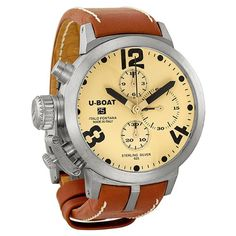U-Boat Classico Automatic Chronograph Beige Dial Sterling Silver Mens Watch 6948 U-Boat