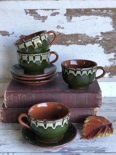 Beautiful drip glaze Bulgarian redware pottery cups and saucersc. 1970sset of 4 cups and 4 saucers. They measures 2.5 inches tall and 3.5 inches in diameter.You get all 4 cups and saucers. #coffeeset #turkishcoffeepot #turkishcoffee Cup And Saucer Set, Tea Cup Saucer, Tea Cups, Turkish Coffee Cups, Arabic Coffee, How To Make Coffee, Making Coffee, Handmade Ottomans, Coffee Photography