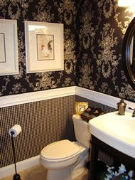 Starching fabric to walls.  Easier than wallpaper, lasts forever, and peels off clean when you want to change! Love this idea for the Master Bath, behind the toilet, instead of trying to paint back there!