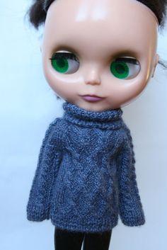 Blythe sweater Sweater for Blythe doll Blue doll outfit Blythe blue cloth Blythe doll outfit Wool outfit Blythe doll knitting blythe outfit