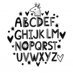Cute hand drawn alphabet with hearts Vector Alphabet Templates, Alphabet Stencils, Alphabet Design, Alphabet Capital Letters, Uppercase And Lowercase Letters, Alfabeto Doodle, Hand Doodles, Comic Font, Cartoon Letters