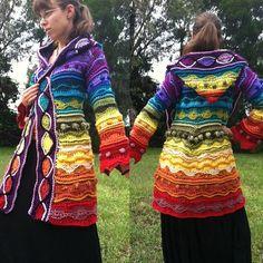Custom freeform technicolor dream coat by EarthTricks on Etsy Crochet Coat, Crochet Jacket, Crochet Motif, Crochet Clothes, Big Twist, Coat Of Many Colors, Yarn Bee, Knit Picks, Hippie Outfits