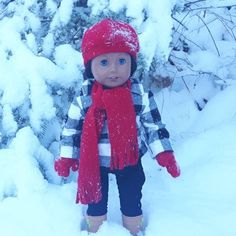 Staying warm while playing in the snow. Red Dolls, Pink Doll, Fleece Hats, Brown Bird, Plaid Jacket, 18 Inch Doll, Winter Sports, Buffalo Plaid, Doll Accessories