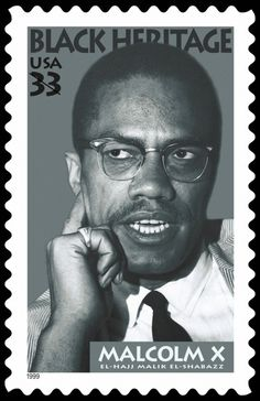 33 cents Malcolm X U.S. Postage Stamp, issued on January 20, 1999.