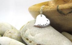 Personalised Heart Necklace - Perfect Valentines Gift. Hand Stamped