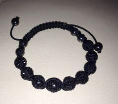 All black discoball bead bracelet